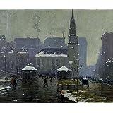 Igreja Park Street Boston Estados Unidos Inverno Neve 1908 Pintura de Arthur Clifton Goodwin na Tela em Vários Tamanhos (68 cm X 55 cm tamanho da imagem)