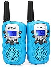 Retevis RT388 Walkie Talkies Niños PMR446 8 Canales LCD Pantalla Función VOX 10 Tonos de Llamada Bloqueo de Canal Linterna Incorporado