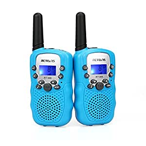 Retevis RT-388 Kids Walkie Talkies LCD Display VOX Scan Flashlight Walkie Talkies Toys for Children for Birthday Gift Christmas (Blue,1 Pair)