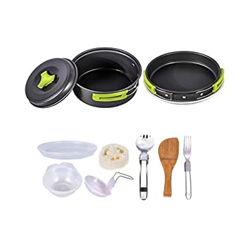 e5620be98421 HUKOER Camping Cookware Kit Backpacking Gear & Hiking Outdoors Cooking  Equipment Ultralight Cooking Set with Compact & Durable Pot Pan Bowls  Folding ...