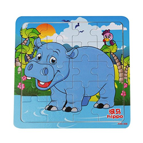 Shybuy Toys Wooden Jigsaws 9 Piece Animals Puzzles Best Game For Kids Toddler, Square Puzzle Problem Solving Playing Card Safe Education Learning Toys Hippo (Square Pattern Puzzle)