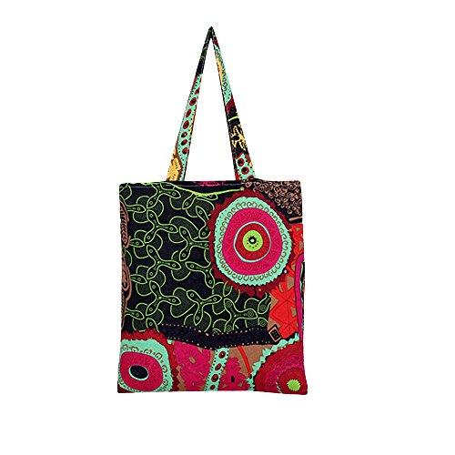 Print Canvas Shopper (Flowertree Women's Cute Animal Print Canvas Tote Bag (L240-Maya red/Open))
