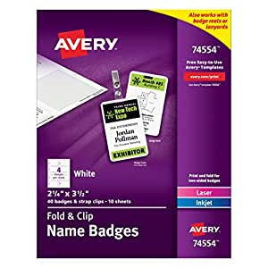Avery fold and clip name badges x 3 5 for Avery id badge template