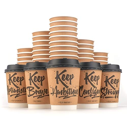 - Disposable Coffee Cups Hot Insulated Paper Cups - With Lid and Stir Straw 12oz(50 Count) Double layer Insulated Eco Friendly,Sturdy Construction,Disposable Craft Large Reusable