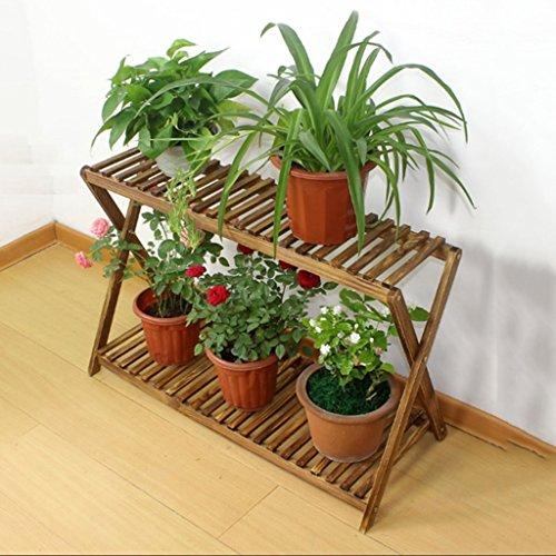 ZUOANCHEN Flower Racks,2 Tier Folding Bamboo Stand Flower Plant Pot Display Shelf Ladder Garden Outdoor,flower Stand Ladde,flower Stand Ladder Vintage (Size : 63cm)