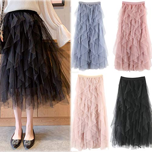 2019 Women A-Line Skirt Princess Long Skirt Tutu Tulle Petticoat Petticoat Basic Irregular Pleated Ball Gown Skirts (Black, Free Size) by Tanlo (Image #8)