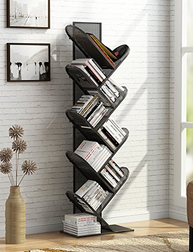 Tribesigns 8-Shelf Tree Bookshelf, Metal Bookcase Small Book Rack Compact Storage Organizer for CD, Books, Small Space Black-Grid