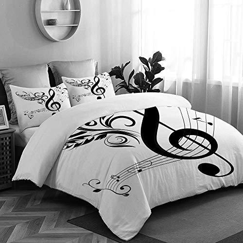 CANCAKA Music Treble Clef and Note Artistic Audio Black Calligraphic Calligraphy Clip College Dorm Room Decor Decorative Custom Design 3 PC Duvet Cover Set Twin/Twin Extra Long