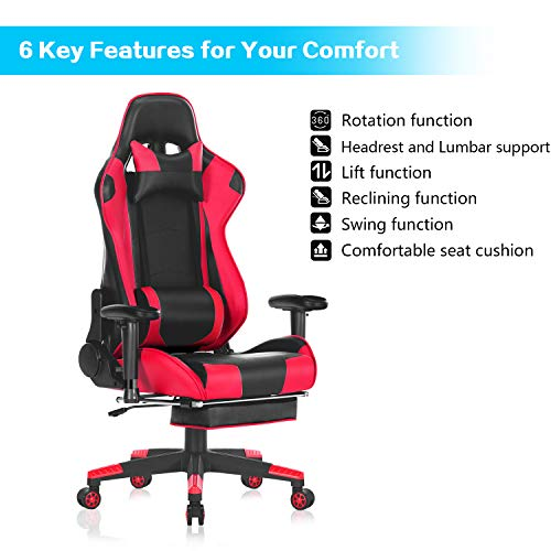 Marvelous Healgen Big And Tall Gaming Chair With Footrest Pc Computer Video Game Chair Racing Gamer Pu Leather Chair High Back Swivel Executive Ergonomic Office Gmtry Best Dining Table And Chair Ideas Images Gmtryco