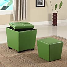 Roundhill Furniture 2-in-1 Storage Ottoman with Stool, Lime Green