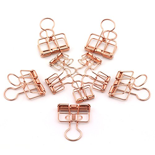 NXG 20-Pack Rose Gold Metal Wire Binder Clip Set,10pcs 2.25 Inch,10pcs 1.57 Inch Paper Metal Clip,Office Supplier School Accessories - Colorful Hollow Out Paper Organizer