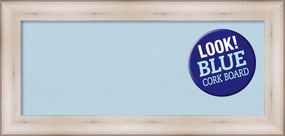 Amanti Art Blue Cork Allure White Framed Bulletin Boards, 35 x 17,