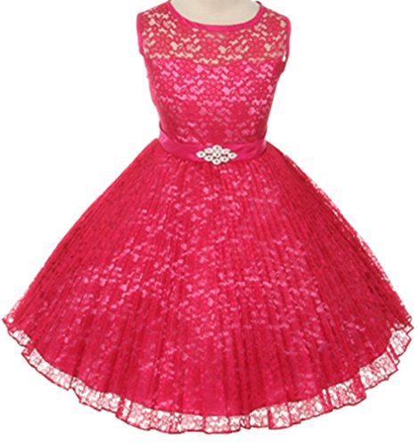 [Big Girls' Pleated Lace Illusion Top Sunburst Special Flowers Girls Dresses Fuchsia Size 8] (Extra Long Satin Fuchsia Gloves)