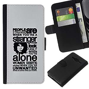 KLONGSHOP // Tirón de la caja Cartera de cuero con ranuras para tarjetas - Profundo Mensaje Acerca de Gente - Samsung Galaxy Core Prime //