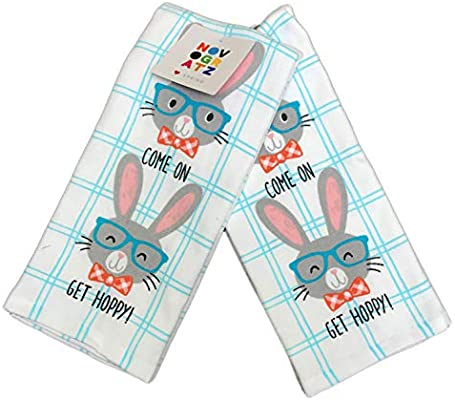 Novogratz Home Come On Get Hoppy Cute Bunny Rabbits Wearing Eyeglasses Set of Two Decorative Easter Spring Kitchen Hand Towels 18 x 28