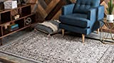 Unique Loom Sialk Hill Collection Traditional Floral Overall Pattern with Border Gray Home Décor Area Rug (4′ x 6′)