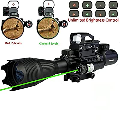 AR15 Tactical Rifle Scope Combo C4-16x50EG Hunting with Green Laser and 4 Holographic Red&Green Dot Sight (12 Month Warranty) for 22&11mm Weaver/Picatinny Rail Mount