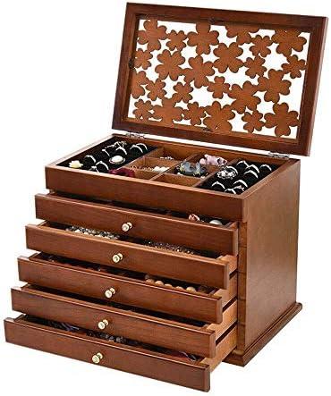 ジュエリーボックス ジュエリーボックス木製6層大容量ジュエリーチェストボックス多目的ガラストップジュエリーボックス用女の子 アクセサリー 収納 ジュエリー収納ボックス (Color : 1)