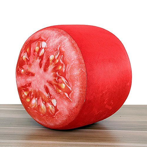 Cute & Funny Inflatable Stool 3D Digital Print Cartoon Fruit Sofa Home Decoration Portable Chair + Free Inflatable Pump (Tomatoes) Tomato Soft Cushion