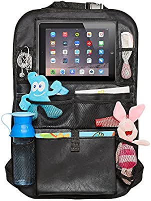 Kick Mat Behind the Seat Cover Claince 4350408249 Car Toy Storage for Baby iPad Tablet Holder Black Kick Mats Eco Leather Car Backseat Organizer Car Back Seat Organizer for Kids Seat Protector for Infant