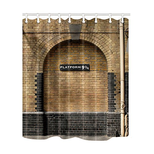 NYMB Platform 9 and 3/4 at London's King's Cross Station Brown Wall Vintage Shower Curtain, Mildew Resistant Waterproof Bathroom Decorations, Bath Curtains Hooks Included, 69X70 inches (Multi11)