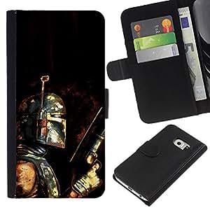 LECELL--Cuero de la tarjeta la carpeta del tirón Smartphone Slots Protección Holder For Samsung Galaxy S6 EDGE -- Bobba Fett - Bounty Hunter Grunge --