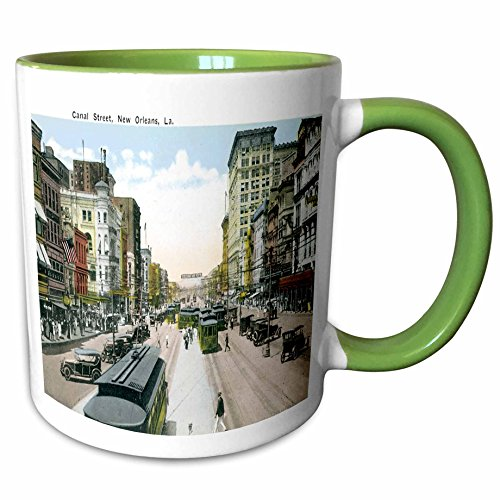 3dRose BLN Vintage US Cities and States Postcard Designs - Canal Street New Orleans, Louisiana, Antique Cars, Cable Car - 11oz Two-Tone Green Mug - In Canal Street Orleans New