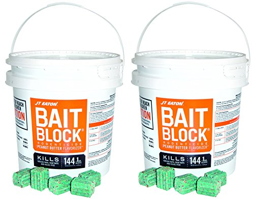 JT Eaton 709-PN Bait Block Rodenticide Anticoagulant Bait, Peanut Butter Flavor, For Mice and Rats (Pail of 144) (2 Pails of 144) by J T Eaton