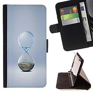 BullDog Case - FOR/Samsung Galaxy S4 IV I9500 / - / Water Sand Minimalist Hourglass /- Monedero de cuero de la PU Llevar cubierta de la caja con el ID Credit Card Slots Flip funda de cuer