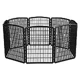 IRIS USA 585605 34''H Exercise 8 Panel Pet Playpen Without Door, Black