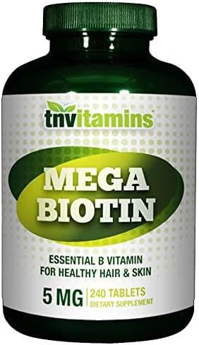Mega Biotin 5000 mcg by TNVitamins - 240 Capsules