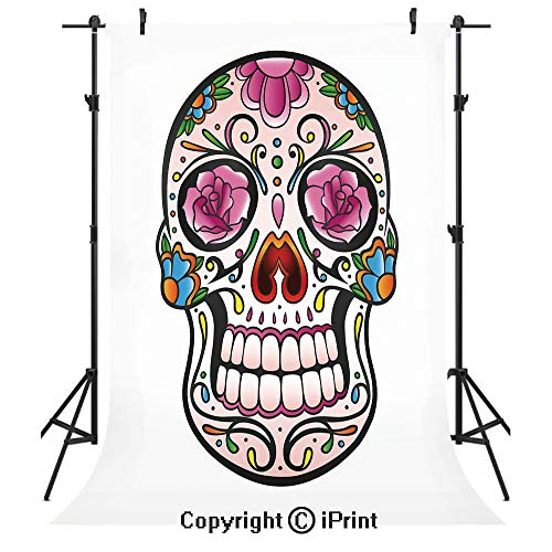 (Sugar Skull Decor Photography Backdrops,Spooky Sugar Skull with Pink Roses Twigs Blooms Teeth Smile Halloween Decorative,Birthday Party Seamless Photo Studio Booth Background Banner)