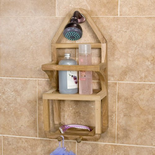 Teak Shower Caddy Suction Shower Shelf by Shower