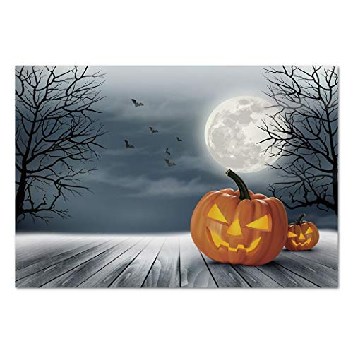 Large Wall Mural Sticker [ Halloween,Cold Foggy Night Dramatic Full Moon Pumpkins on Wood Board Trees Print,Grey Orange Black ] Self-Adhesive Vinyl Wallpaper/Removable Modern Decorating Wall -