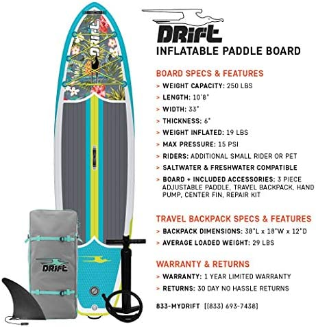 Drift Inflatable Stand Up Paddle Board, SUP with Accessories Pump, Lightweight Paddle, Fin Backpack Travel Bag