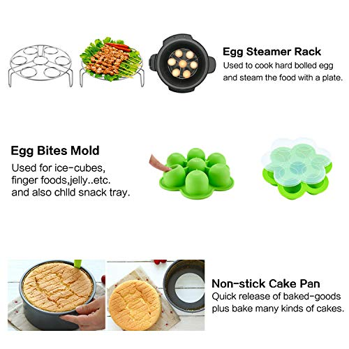 3pcs Accessories Set Kit Compatible with Instant Pot 5 6 8 Quart Pressure Cooker Accessory Silicone Egg Bites Mold+Egg Steamer Rack+7inch Cake Pan Mold Insert Pans by Sonyabecca (Image #3)