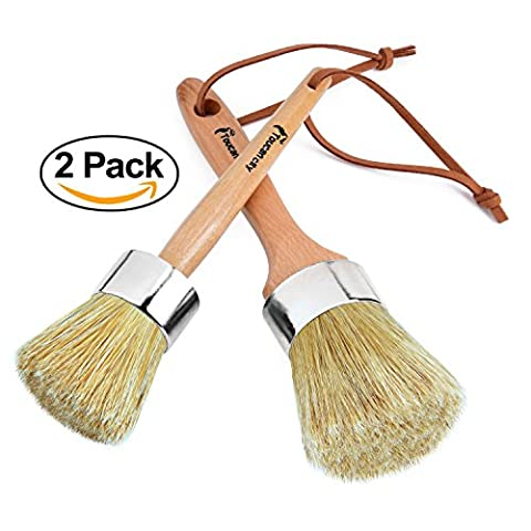 Wax & Chalk Paint Brush Set by Toucan City/ Natural Bristles & Ergonomic Handles (2-Pack) Round oval/ paint brush for chalk paint Annie Sloan furniture DIY Projects Chair decor Frame Gift Wrap (How To Get Photoshop Cs6 For Free)