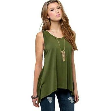 Hatoys Women s Ladies Plus Size Solid O Neck Sleeveless Vest Casual Top Tee  T-Shirt 0f44e6e75eda