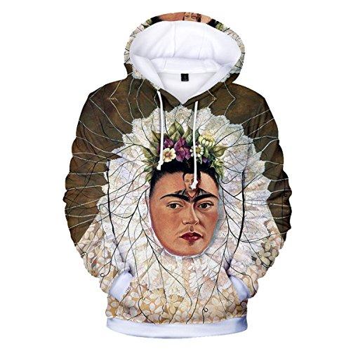 Unisex Cappuccio Stampa CTOOO Kahlo Felpe 3D Donna 09 2018 con Frida 3XL Sportive 2XS Uomo 0xxwArSqPI