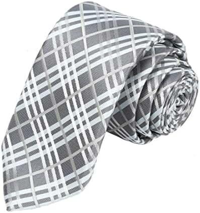 KissTies Necktie Tartan Plaid Skinny Tie, 2.36''