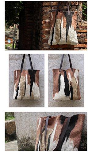Ysting Handgemachte Tote - Wollfilz-Einkaufstasche - Schöne Handtasche - Handgemachte Tasche - Wolle gefilzt Tasche - Große Handtasche -Handgestrickte Gefilzt Purse B
