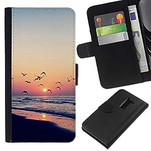 Ihec-Tech / Flip PU Cuero Cover Case para LG G2 D800 D802 D802TA D803 VS980 LS980 - Twilight coast