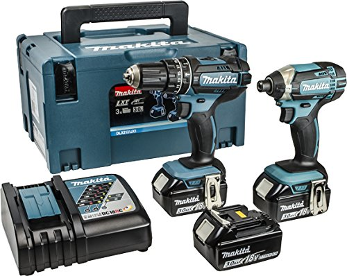 Makita DLX2131JX1 18 V Combi Drill Plus Impact Driver - Blue (2-Piece)