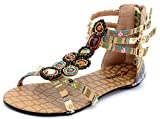 Odema Summer Bohemian Beaded Floral Flat Womens Beach Thong Sandals XZ0065WC