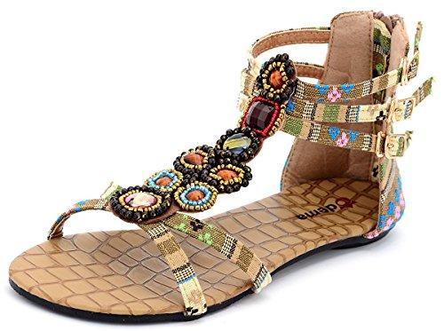Odema Summer Bohemian Beaded Floral Flat Womens Beach Thong Sandals XZ0065WC Apricot