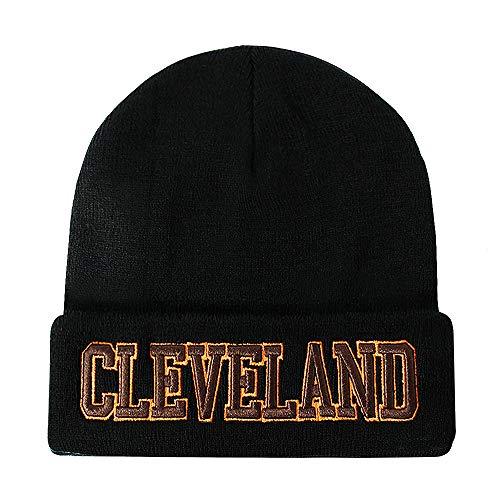 Classic Cuff Beanie Hat - Black Cuffed Football Winter Skully Hat Knit Toque Cap (Cleveland) ()
