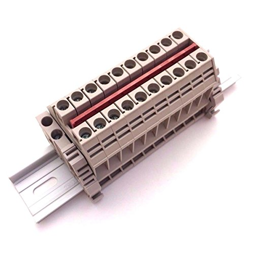 - Dinkle Solar Combiner DK6N 10 Gang Box Connector DIN Rail Terminal Blocks, 8-20 AWG, 50 Amp, 600 Volt Power Distribution
