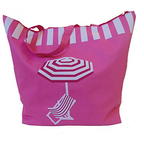 Ladies womens Large Summer Beach Tote Bag features deckchair and parasol (PINK)