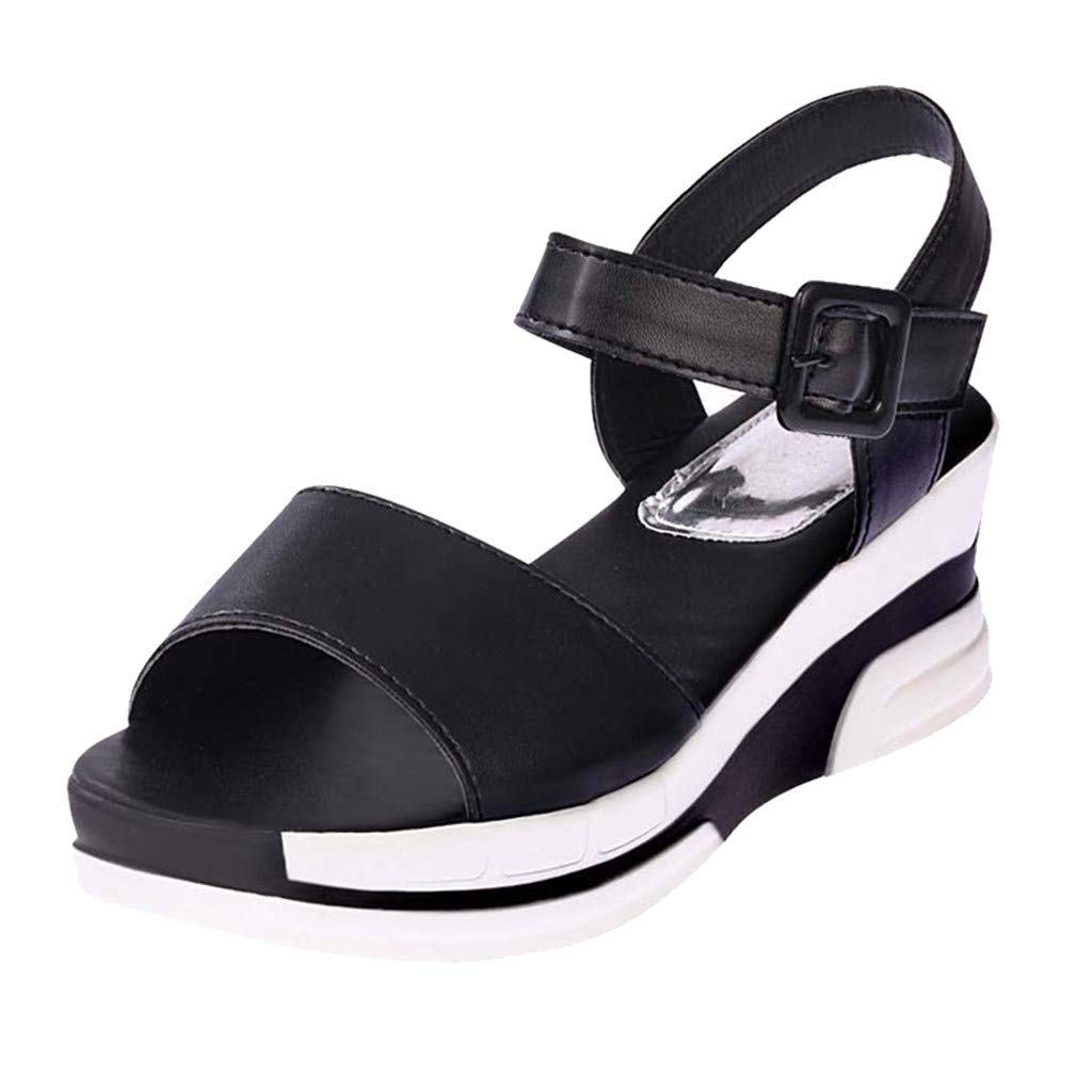 Thenxin Summer Solid Heel Sandals with Flat-Bottomed Muffin Platform Women Shoes for Work (Black,7 US)