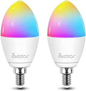 Smart Bulb LED Candelabra Bulb E12, WiFi Lighting Bulbs Work with Alexa, Google Home, Smart Life APP, Dimmable Color Changing RGB Ambiance Decorative Candle 40W Equivalent(2800-3200K Warm White)